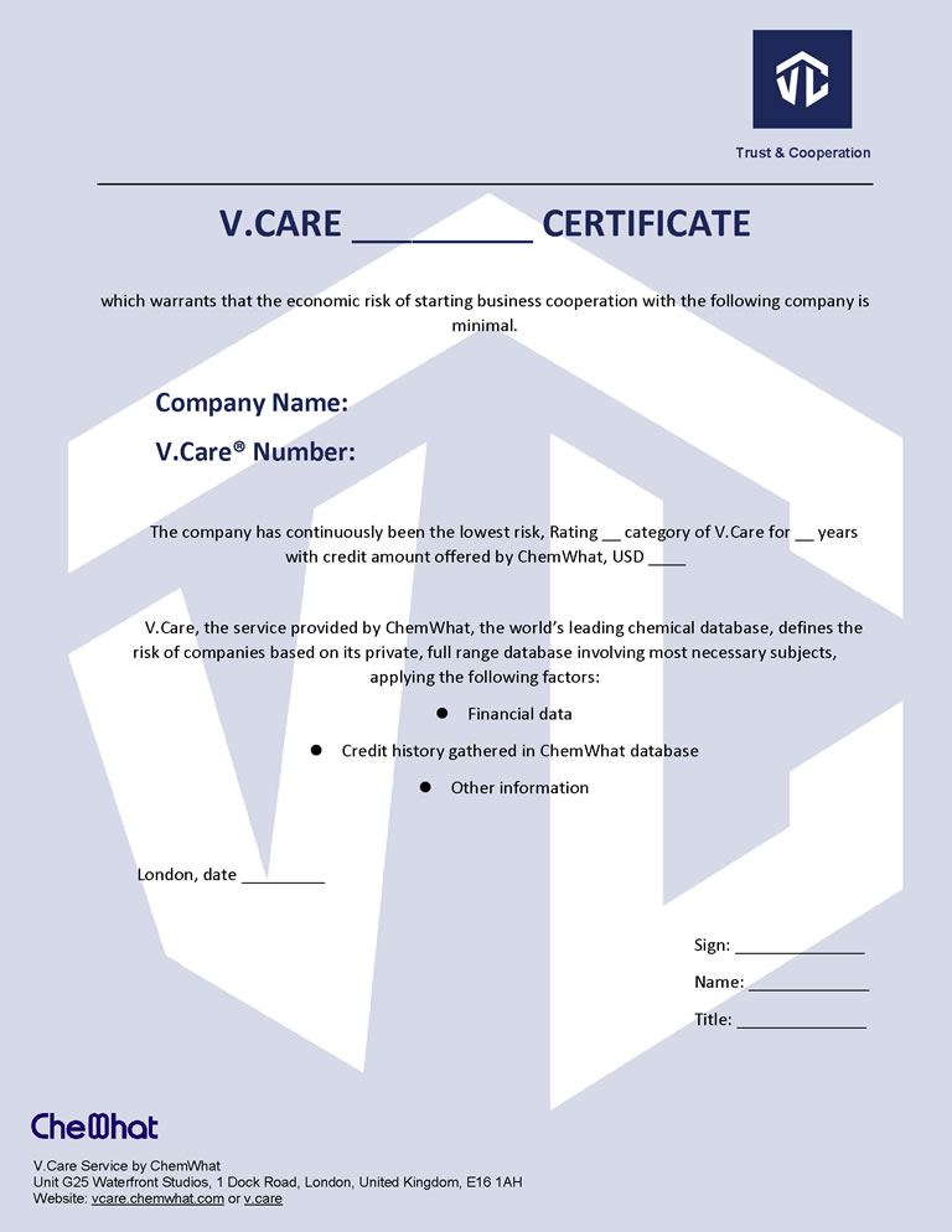 Plantilla de certificado de VCare