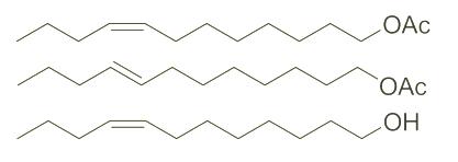 Estructura del acetato de Z-8-dodeceniloE-8-acetato de dodeceniloZ-8-dodecenol CAS WPNA-0001