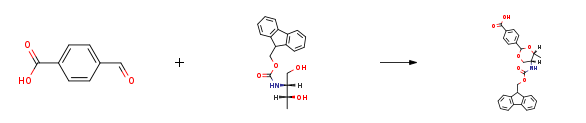Route of Synthesis (ROS) of Fmoc-L-threoninol p-carboxybenzacetal CAS 205109-16-6